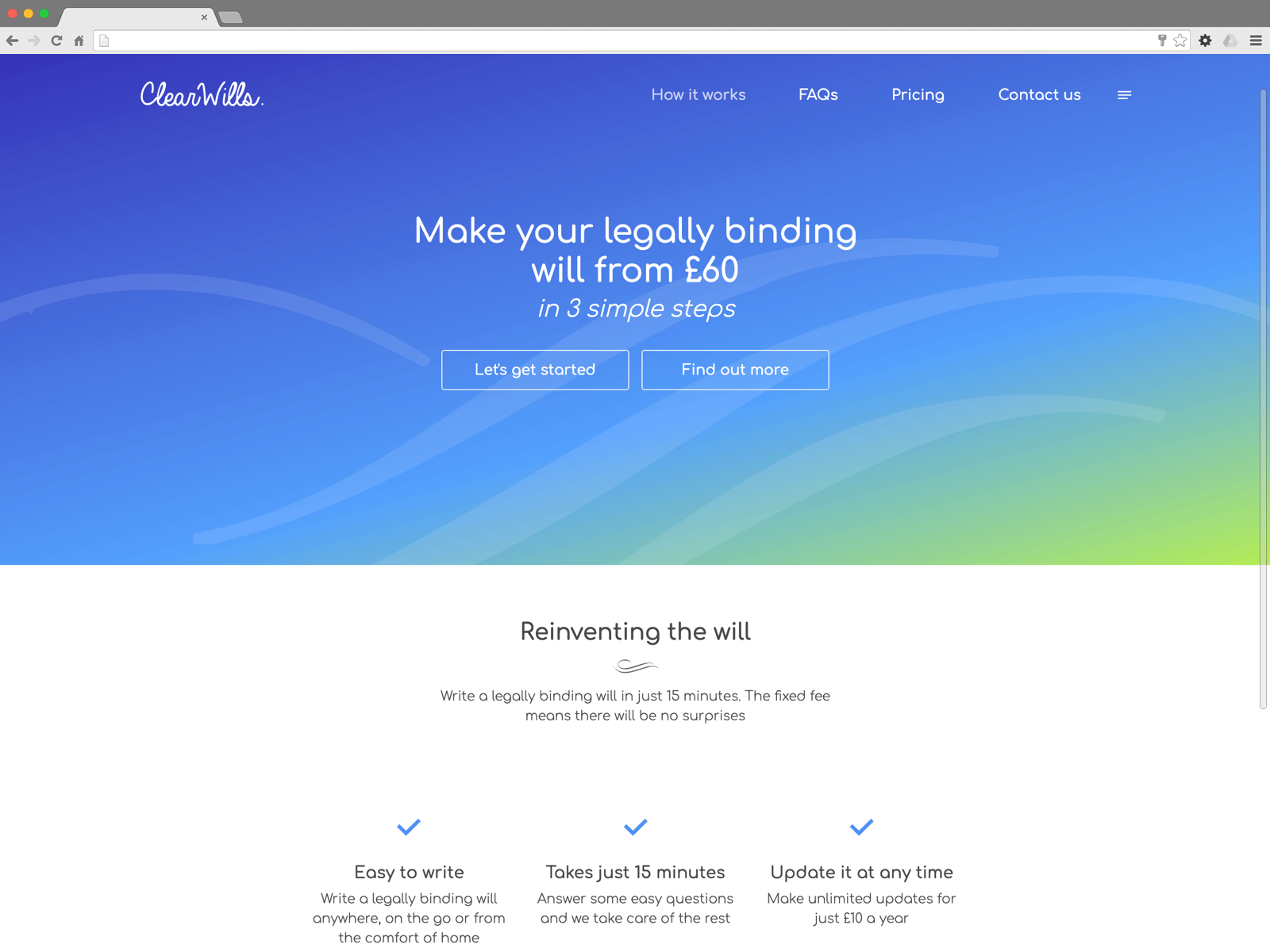 ClearWills website (Website on desktop)
