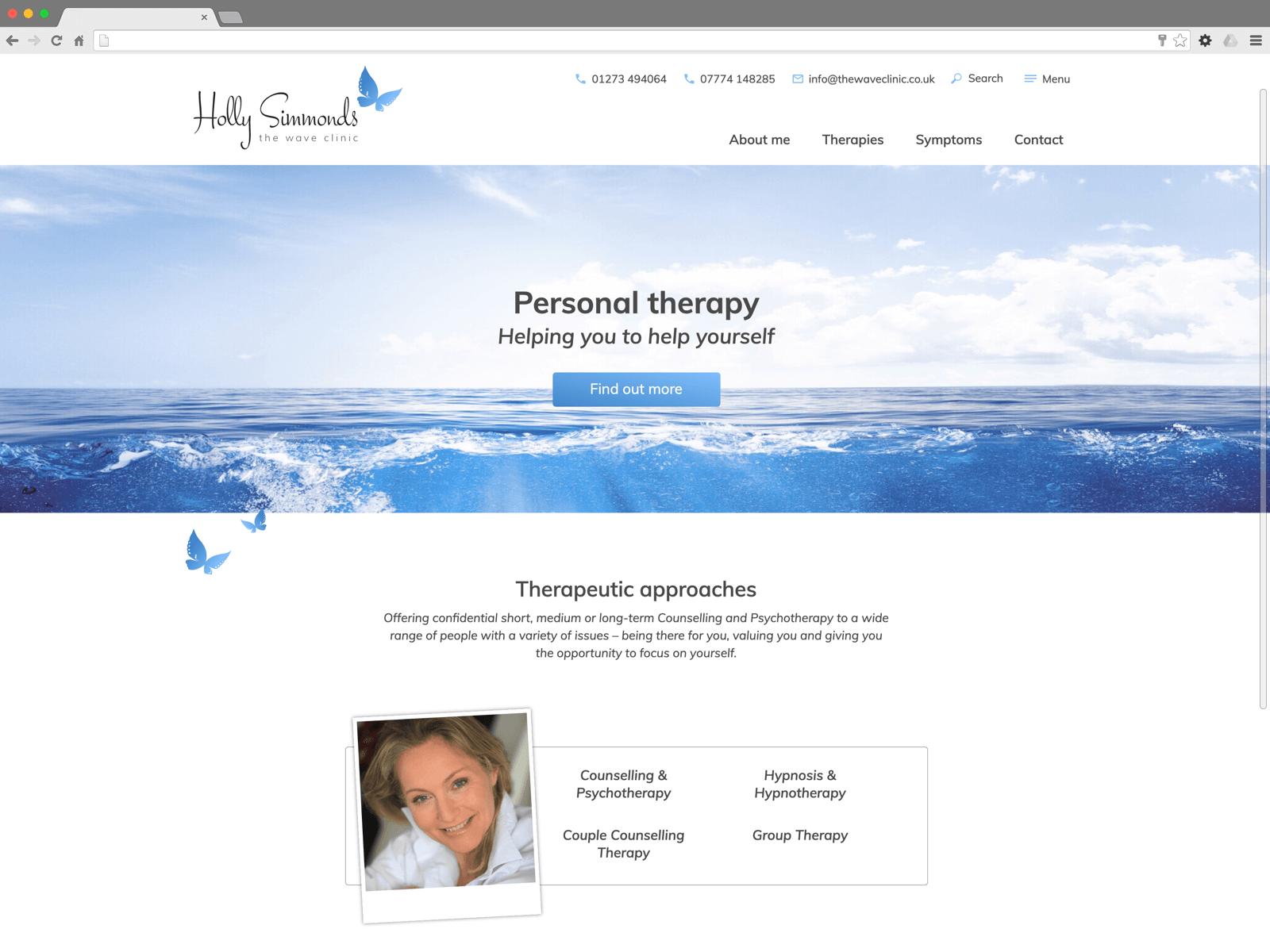 The Wave Clinic website (Website on desktop)